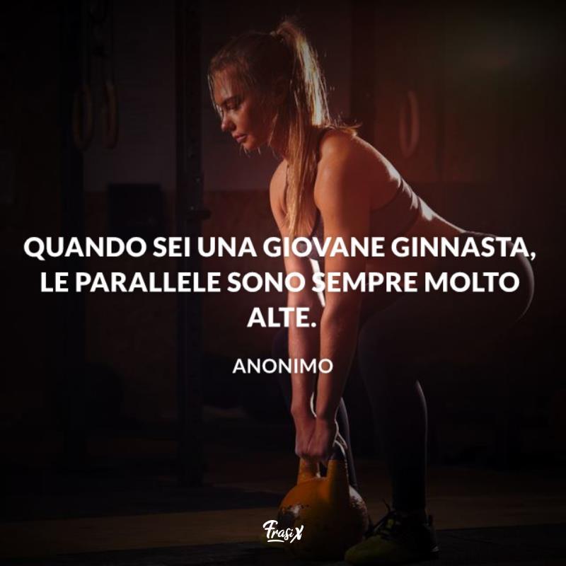 Immagine con citazione sulle parallele per frasi sulla ginnastica artistica