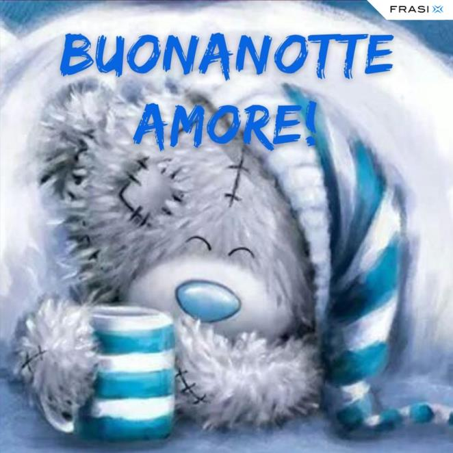 Immagine orsetto con augurio della Buonanotte amore