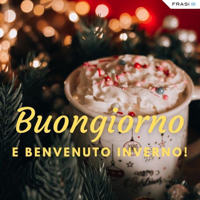 Buongiorno e benvenuto inverno con tazza invernale