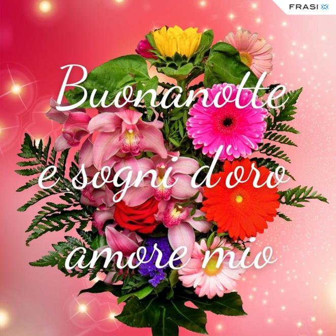 Immagine di fiori con scritta buonanotte