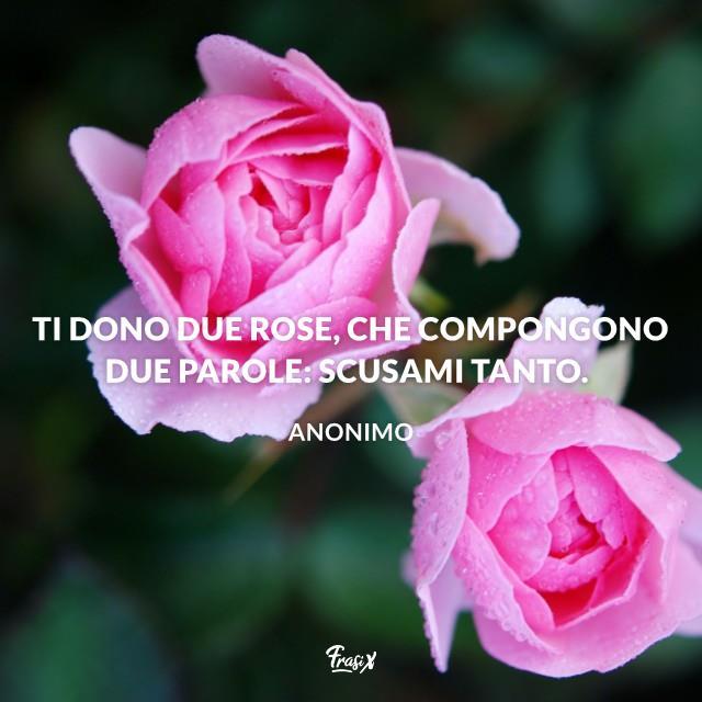 Ti dono due rose, che compongono due parole: scusami tanto.
