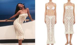 Rihanna indossa un abito a ricamo di Natalie Martin