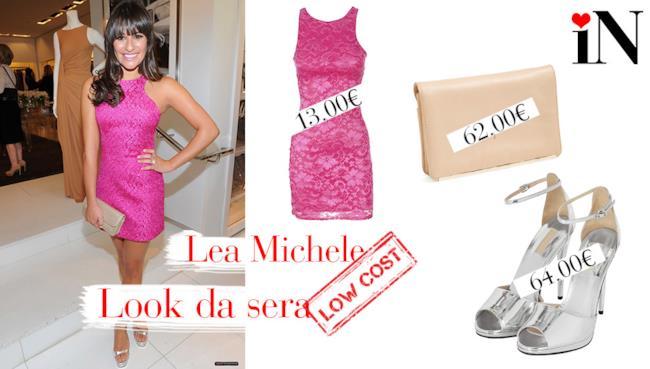 Look da sera per essere come Lea Michele con abito in pizzo rosa
