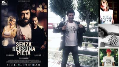 """La t-shirt di Favino e Happiness per promuovere il nuovo film """"Senza nessuna pietà"""""""