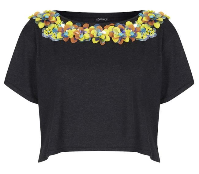 Per la shopping list una maglia con piccoli decori a fiori