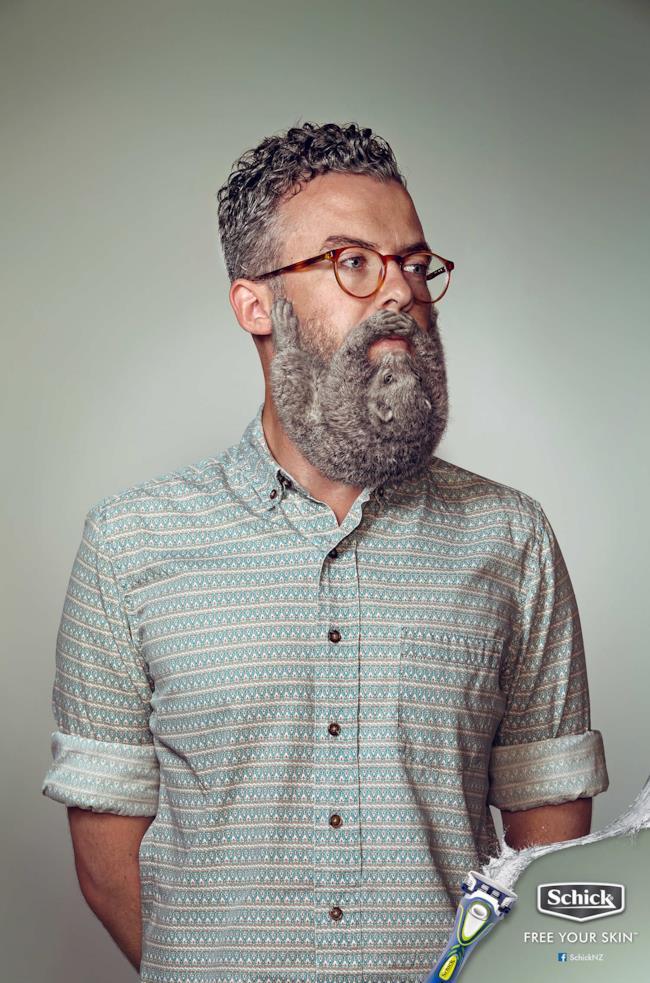 Nuova pubblicità di Schick con i roditori al posto della barba