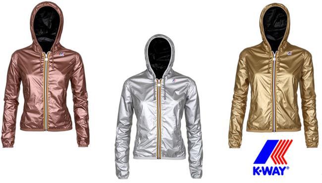 Tre modelli per lei di K-Way nella variazioni cromatiche dell'oro, argento e bronzo