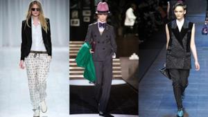 Alcuni look da sfilate dove le modelle indossano degli abbinamenti mannish