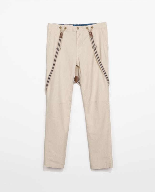 Saldi estivi 2014 pantaloni stile vintage con bretelle di Zara