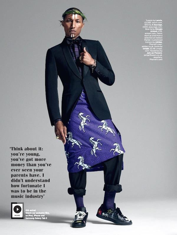 I look di Pharrell su GQ British di ottobre 2014