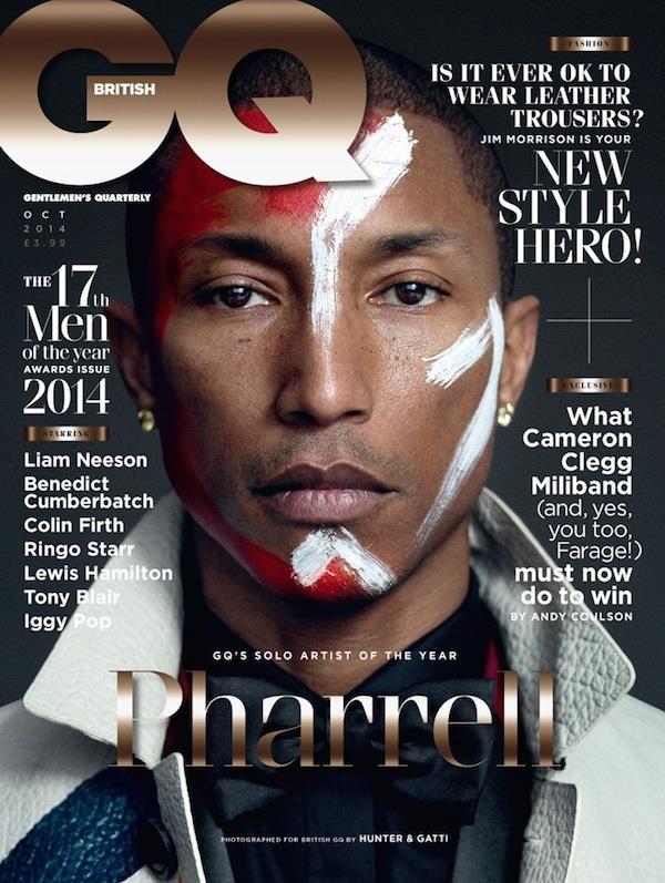 Pharrell conquista la copertina di GQ UK di Ottobre 2014
