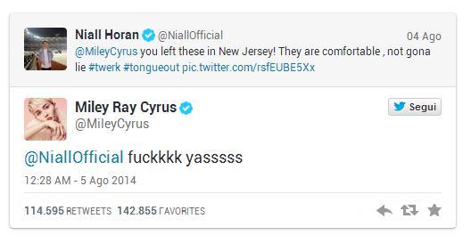 La risposta di Miley Cyrus a Niall Horan su Twitter
