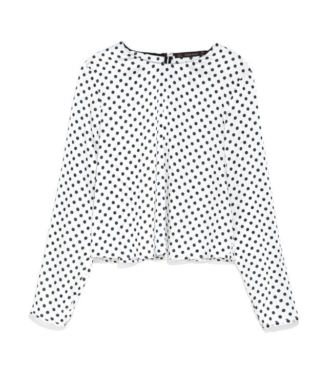 Camicia a pois di Zara per l'outfit di Olivia Palermo