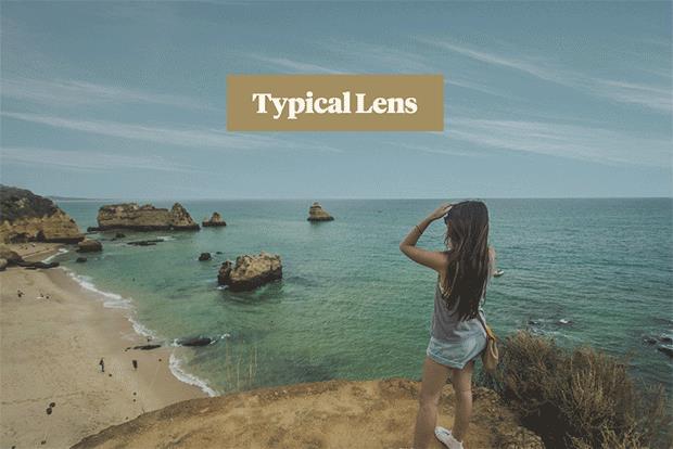 Le gradazioni dei colori della lente dei Tens gli occhiali da sole che vedono come Instagram