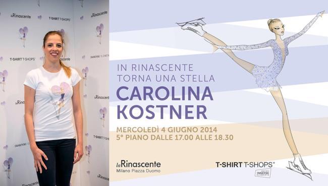 La campionessa di pattinaggio Carolina Kostner presenterà la sua collezione di magliette