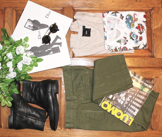 Stivali di Zara, pantaloni Dockers e maglia di Just Cavalli