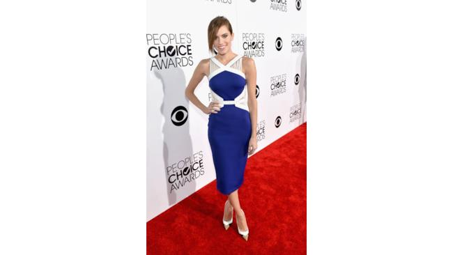 Allison Williams in abito blu