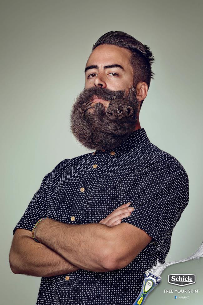 I roditori al posto della barba nella pubblicità della Schick
