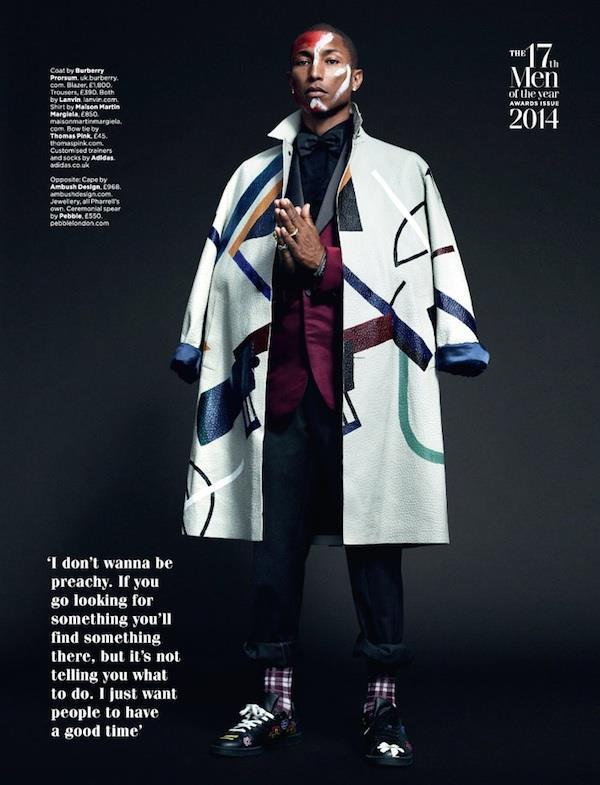 Il cantante Pharrell su GQ British di ottobre 2014