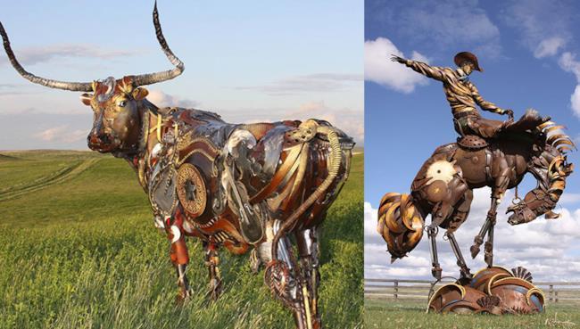 John Lopez è un contadino diventato famoso per le sue opere in metallo riciclato