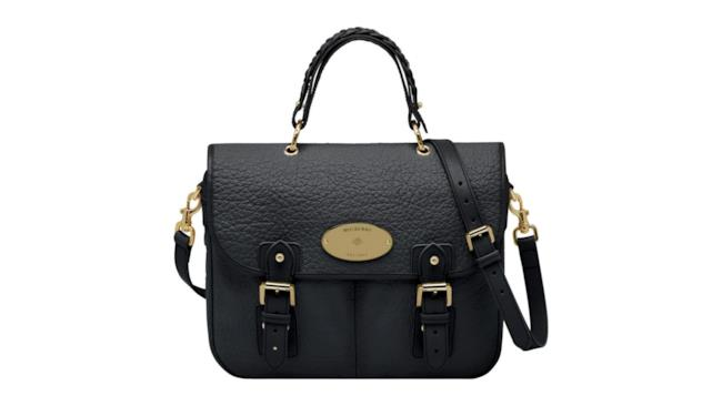 Handbag nera in pelle martellata e finiture dorate di Mulberry