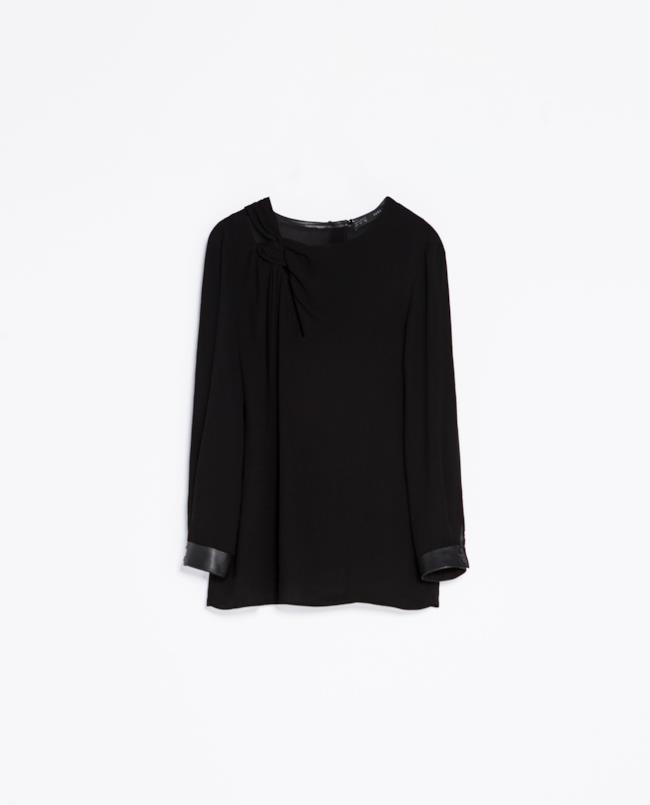 Camicia di Zara con dettagli in ecopelle