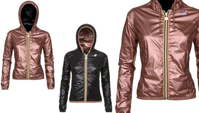Modello color bronzo della K-Way double face da indossare quest'estate 2014