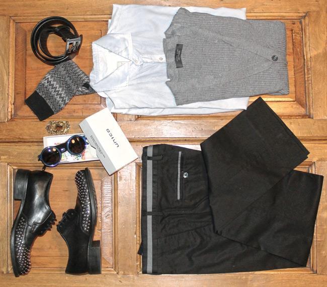 occhiale da sole Glassing, calze di Missoni, scarpe, pantalone e maglia di Zara
