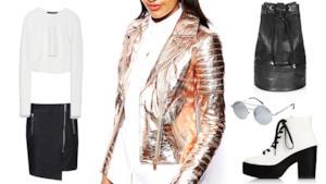 Nel tuo outfit del week domina il chiodo silver