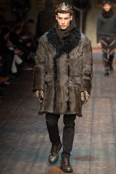 Fur coat da uomo per Dolce & Gabbana MMFW 2014
