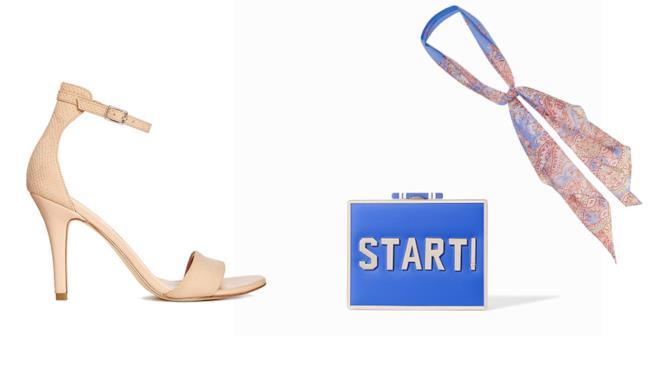 Sandalo, clutch e foulard per il look di Emma Stone