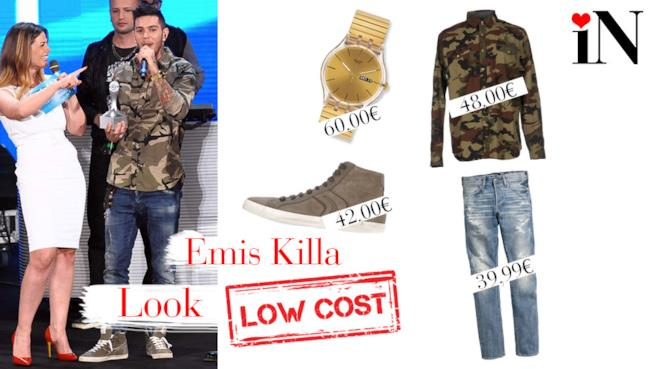 Il look low cost di Emis Killa con camicia in camouflage
