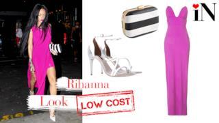 Il look con abito rosa shocking di Rihanna, con prezzi low cost