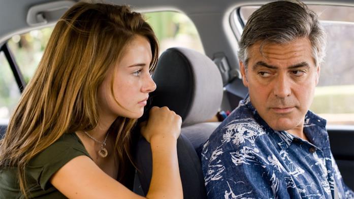 Primo piano di Shailene Woodley e George Clooney in Paradiso Amaro