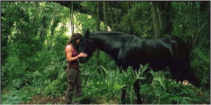 Kate incontra il cavallo nero nella giungla di Lost