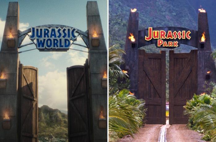 I cancelli di Jurassic World e Jurassic Park