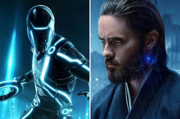 Una immagine di Tron Legacy e a destra Jared Leto