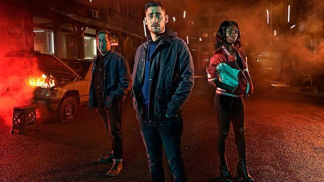 Tre protagonisti della serie TV inglese The Aliens
