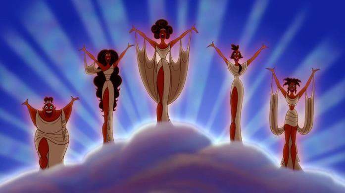 Le Muse narratrici della versione animata di Hercules