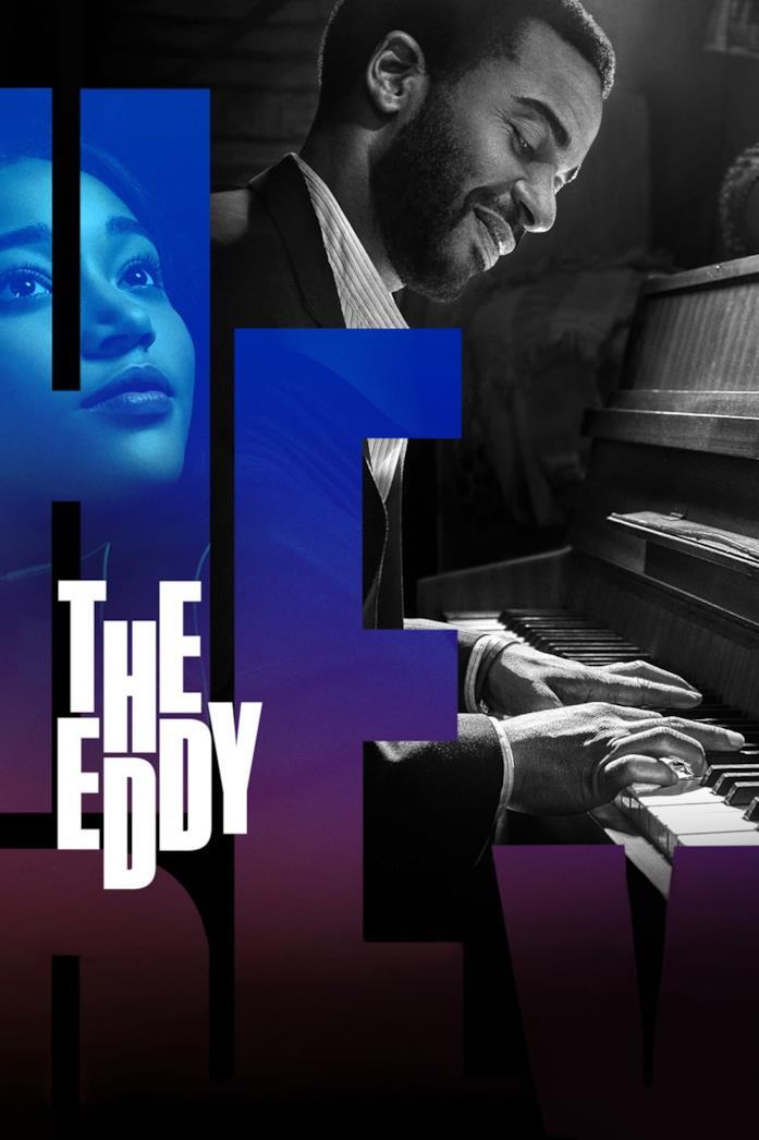 André Holland ritratto al piano come Sebastian di La La Land nella locandina di The Eddy