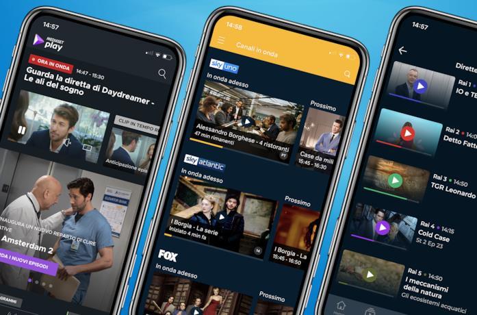 Da sinistra: Mediaset Play, NOW TV e RaiPlay su smartphone