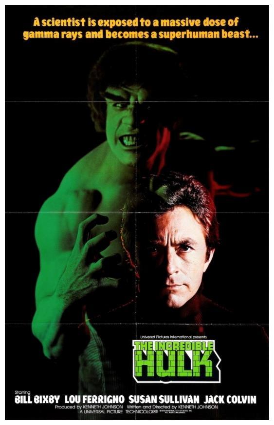 Lou Ferrigno truccato da Hulk e Bill Bixby