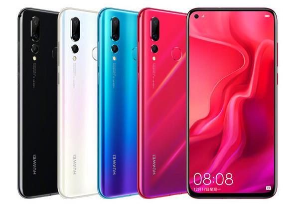Immagine stampa di Huawei Nova 4 in diverse colorazioni