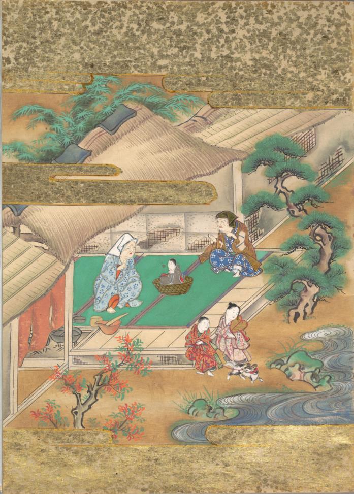 Un dipinto del periodo Edo che raffigura la Storia del tagliatore di bambù