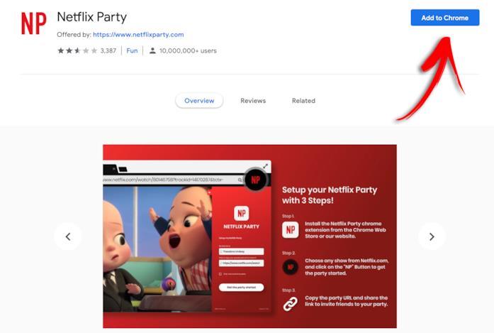 La pagina di Netflix Party sullo store di Google Chrome