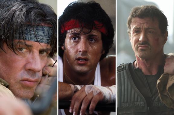 Da sinistra Stallone in Rambo II, Rocky II e I Mercenari
