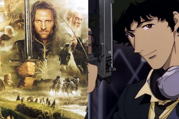 A sinistra i protagonisti del film Il Signore degli Anelli, a destra Cowboy Bebop
