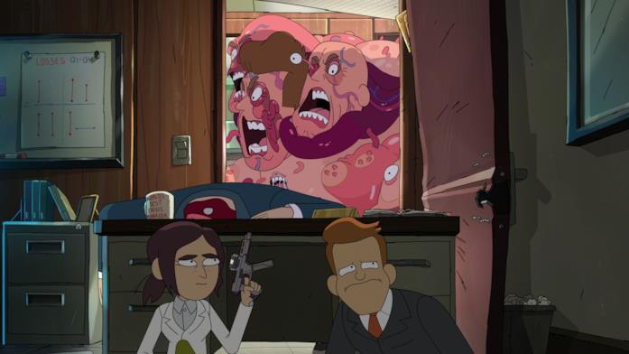 Una scena della serie Netflix Inside Job