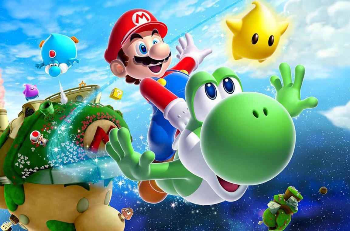Super Mario a bordo di Yoshi, nel loro magico mondo