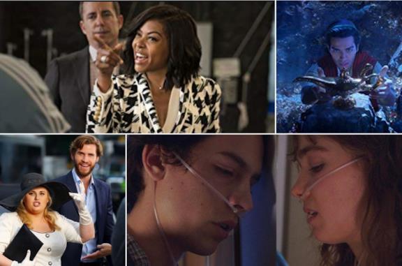 Collage tra What Women Want, Isn't It Romantic, Aladdin, Five Feet Apart